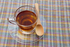 Cup of tea. On table cloth still life Royalty Free Stock Photo