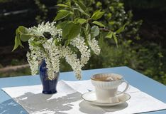 Cup of tea on table in a garden in the spring Royalty Free Stock Images