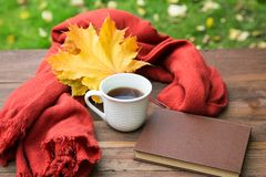 Cup of tea on the table with a scarf and  books Stock Photo