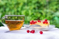 Cup of tea and tasty piece of cake on white cloth. Cup of tea with tasty cake on table in garden Stock Photography