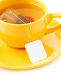 Cup of tea with tea bag (blank label) Stock Photo