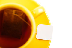 Cup of tea with tea bag (blank label) Stock Images