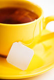 Cup of tea with tea bag (blank label) Royalty Free Stock Photo