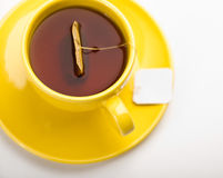Cup of tea with tea bag (blank label) Royalty Free Stock Images