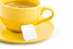 Cup of tea with tea bag (blank label) Royalty Free Stock Photos