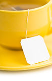 Cup of tea with tea bag (blank label) Stock Photography