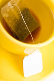 Cup of tea with tea bag (blank label) Stock Photos