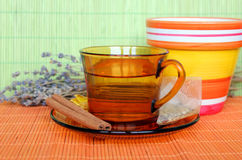 Cup of tea with tea bag Royalty Free Stock Photo