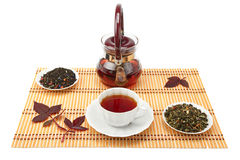 A cup of tea and tea leaves. Royalty Free Stock Images