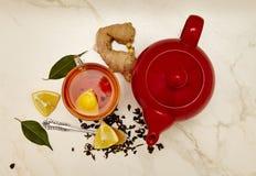 Cup of tea, tea, lemon, tea leaves Stock Images