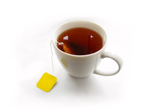Cup of tea with teabag. On white background Stock Photos