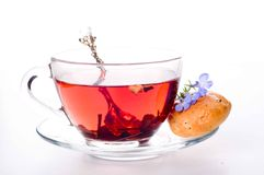Cup of tea with teabag over white Stock Photo