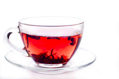 Cup of tea with teabag over white Royalty Free Stock Photography