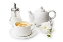 Cup of tea and a teapot Stock Photos