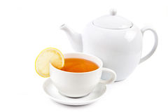 Cup of tea and Teapot Stock Photo