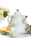 Cup of tea and teapot Stock Image