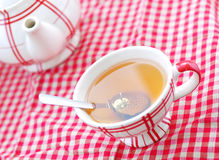 A cup of tea and a teapot Stock Images