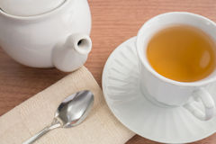 A cup of  tea and  teapot Royalty Free Stock Images