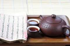 Cup of tea with teapot and book Stock Photography