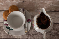 Cup with tea and teapot, close up Stock Photo