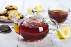 Cup of tea with teapot Royalty Free Stock Images