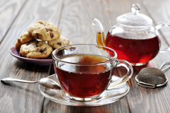 Cup of tea with teapot Stock Image