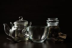 Cup for tea and teapot Stock Photography