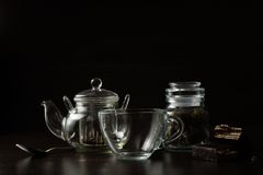 Cup for tea and teapot Stock Photo