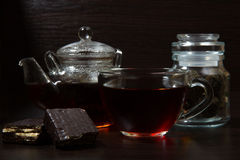 Cup with tea and teapot Royalty Free Stock Photo