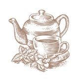 Cup of tea with teapot and greens Royalty Free Stock Photo