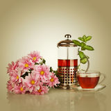 Cup of tea, teapot with mint leaf Stock Images