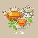 Cup of tea, teapot and sugar bowl. Illustration with cup of tea, teapot , sugar bowl and tea leaves on brown background Stock Photos