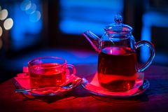 Cup of tea and teapot stock photography
