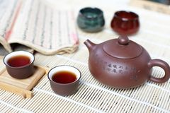 Cup of tea with teapot Royalty Free Stock Photography