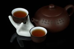 Cup of tea with teapot Royalty Free Stock Image