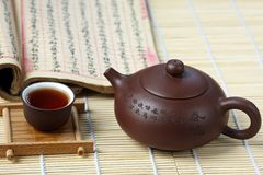 Cup of tea with teapot Stock Images