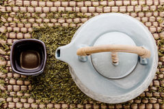 Cup of tea and teapot on wooden Royalty Free Stock Photo