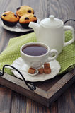 Cup of tea and teapot Stock Photos