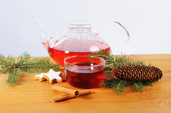 Cup tea, teaspot and advent season decoration Royalty Free Stock Images