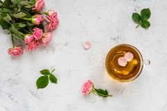 Cup of tea and tender pink roses on a white background copy spac. E Royalty Free Stock Images
