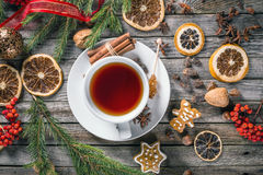 Cup of tea. Top view of cup of tea with Christmas decoration stock photo