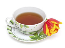 Cup of tea and tulip flower Stock Photo