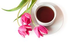 Cup of tea and tulips Stock Images