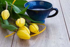 Cup of tea with tulips Royalty Free Stock Images