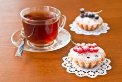A cup of tea and two cake Royalty Free Stock Photography
