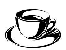 Cup of tea. Vector black silhouettes. Stock Photos