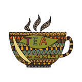 Cup of tea vector, cup of tea zen tangle, zen doodle. Cup of tea coloring. Cup tattoo. Royalty Free Stock Images