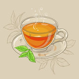 Cup of tea. Vector illustration with cup of tea on brown background Royalty Free Stock Images