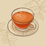 Cup of tea. Vector illustration with cup of tea on brown background Stock Photos