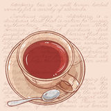 Cup of tea. Vector illustration with cup of tea and spoon  on color background Stock Photo
